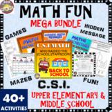 Math Activities Mega Fun Bundle: CSI Math, Mysteries, Multiplication Games.