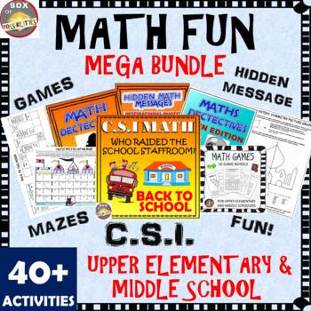 End of Year Math Bundle (Fun Math Activities): CSI Math, Math Mystery, Games.