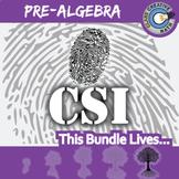 CSI: Pre-Algebra BUNDLE -- 9 Crime Scene Activities