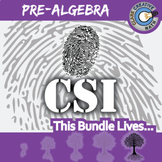 CSI: Pre-Algebra BUNDLE - 9 Crime Scene - Distance Learning Compatible
