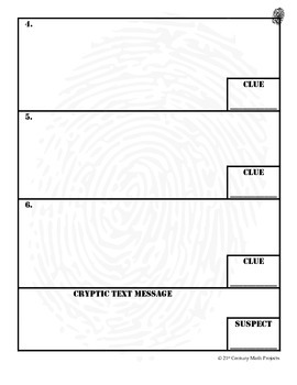CSI Project Student Evidence Worksheet (FREEBIE!)