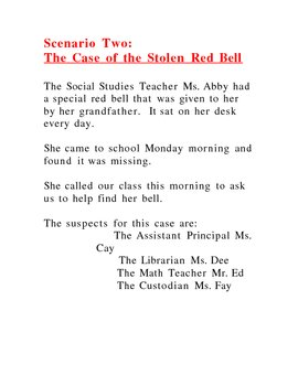 CSI  The Case of the Missing Red Bell a forensic case