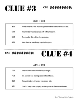 Whodunnit? -- Add Three Digit Numbers  - Skill Building Class Activity
