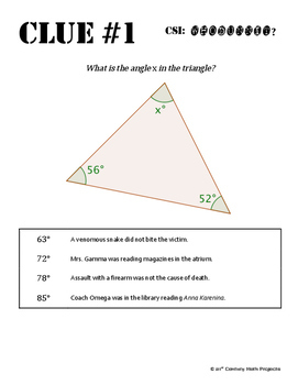 Whodunnit? -- Angle Sum Theorem - Skill Building Class Activity