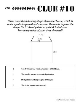 Whodunnit? -- Area of Quadrilaterals - Skill Building Class Activity