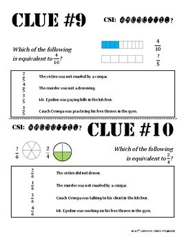 Whodunnit? -- Comparing Fractions - Skill Building Class Activity