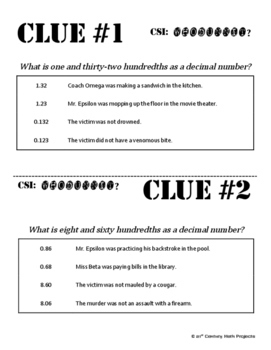 Whodunnit? -- Decimal Word Names - Skill Building Class Activity