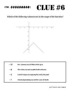 Whodunnit? -- Domain & Range of Continuous Graphs - Class Activity