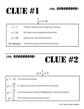 Whodunnit? -- Equations with Fractions - Skill Building Class Activity