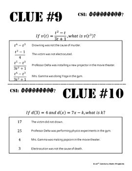 Whodunnit? -- Evaluating Functions - Skill Building Class Activity