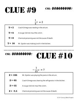 Whodunnit? -- One-Step Equations - Skill Building Class Activity