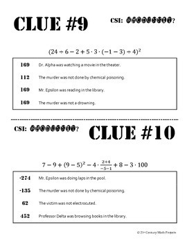 Whodunnit? -- (FREEBIE) Order of Operations - Skill Building Class Activity