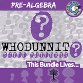Whodunnit? -- PRE-ALGEBRA CURRICULUM BUNDLE - 58+ Skill Building Activities