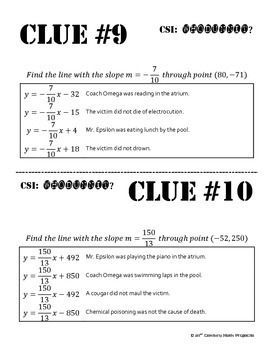 Whodunnit? -- Point and Slope - Skill Building Class Activity
