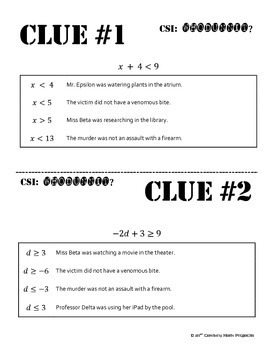 Whodunnit? -- Solving Inequalities - Skill Building Class Activity