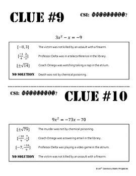 Whodunnit? -- Solving Quadratic Equations - Skill Building Class Activity