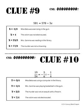 Whodunnit? -- Two-Step Equa... by 21st Century Math Projects ...