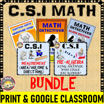 CSI and Math Story BUNDLE: Use Math to solve these Mysteries!