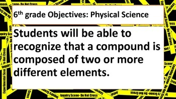 CSI themed Science objectives posters for 6th grade