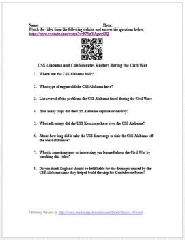 CSS Alabama and Confederates Raiders during the Civil War Video Worksheet