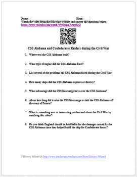 CSS Alabama and Confederates Raiders during the Civil War Video Worksheet