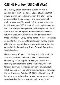 CSS HL Hunley (US Civil War) Handout