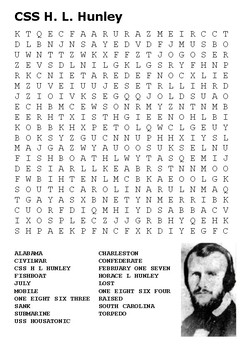 CSS HL Hunley (US Civil War) Word Search