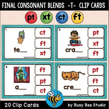 Blends Clip Cards (-ct, -ft, -xt, -pt)