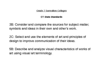 CT State Standards for Surrealism Collage