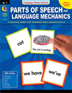 Language Games Galore! Parts of Speech and Language Mechanics, Grade 1