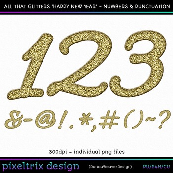 CU4CU *HAPPY NEW YEARS* Numbers and Punctuation Printable Clip Art