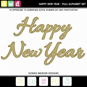 CU4CU *HAPPY NEW YEARS* Uppercase Alpha Printable Clip Art
