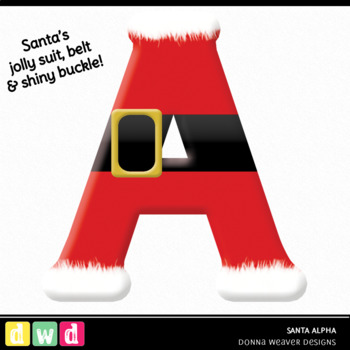 *SANTA* Printable Seasonal Christmas Letters Number Clip Art