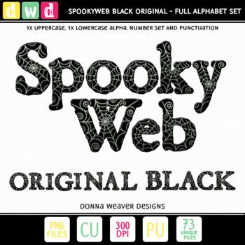 CU4CU *SPOOKYWEB - BLACK* Uppercase Alpha Printable Clip Art