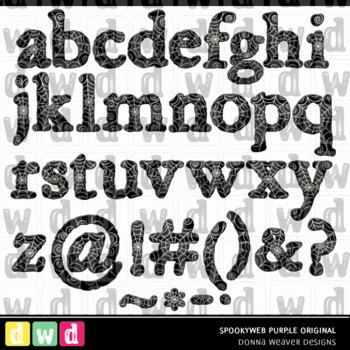 Printable Halloween Alphabet SPOOKY WEB Original BLACK Letters Numbers