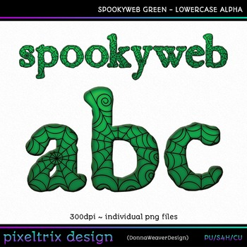 CU4CU *SPOOKYWEB - GREEN* Lowercase Alpha Printable Clip Art