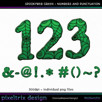 CU4CU *SPOOKYWEB - GREEN* Numbers and Punctuation Printable Clip Art