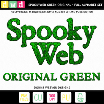 CU4CU *SPOOKYWEB - GREEN* Uppercase Alpha Printable Clip Art