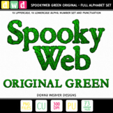 Printable Halloween Alphabet SPOOKY WEB Original GREEN Letters Numbers