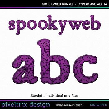CU4CU *SPOOKYWEB - PURPLE* Lowercase Alpha Printable Clip Art