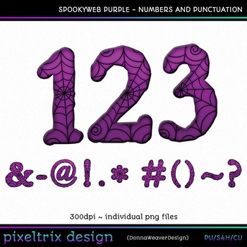 CU4CU *SPOOKYWEB - PURPLE* Numbers and Punctuation Printable Clip Art