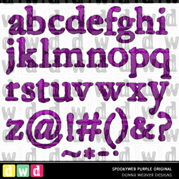 Printable Halloween Alphabet SPOOKY WEB Original PURPLE Letters Numbers
