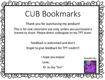 CUB Strategy Bookmark (Reading / Writing)