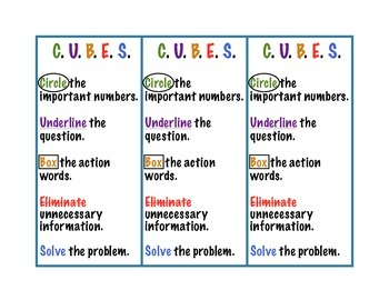 C.U.B.E.S. Math Anchor Chart  (With Student Set)