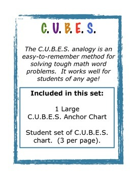 C.U.B.E.S. Math Anchor Chart  (With Student Set)