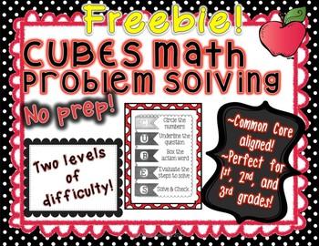 CUBES Math Problem Solving--Common Core, Perfect for Grades 1-3, No Prep!!