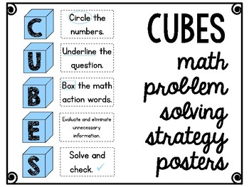 CUBES Math Problem Solving Strategy Posters (Blue)