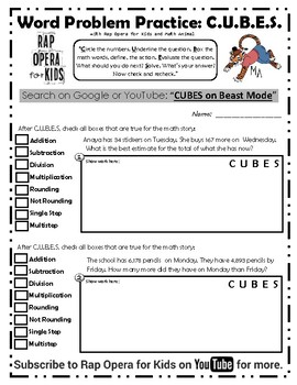 CUBES Math Strategy Word Problems Song and Worksheet