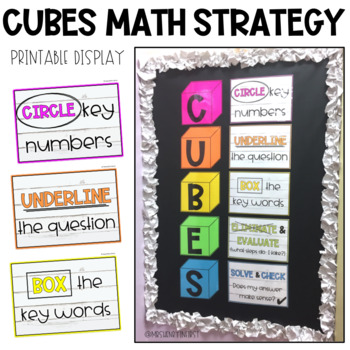 graphic relating to Cubes Math Strategy Printable called CUBES Math Method Poster Present