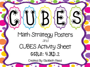 CUBES Math Strategy Posters *with* CUBES Activity Sheet {Brightly Colored Dots}